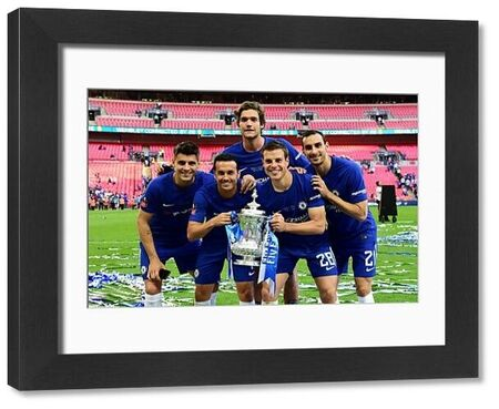 LONDON, ENGLAND - MAY 19: Alvaro Morata, Pedro, Marcos Alonso, Cesar Azpilicueta, and Davide Zappacosta of Chelsea pose with the Emirates FA Cup Trophy following their sides victory in The Emirates FA Cup Final between Chelsea and Manchester