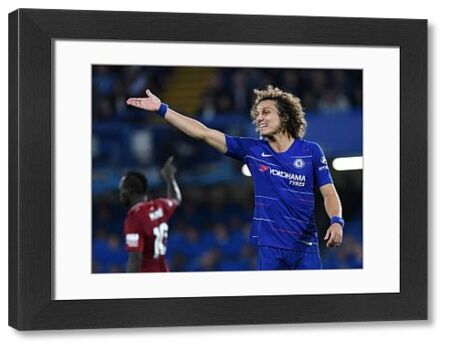 LONDON, ENGLAND - SEPTEMBER 29: David Luiz of Chelsea gestures during the Premier League match between Chelsea FC and Liverpool FC at Stamford Bridge on September 29, 2018 in London, United Kingdom