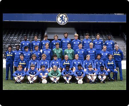 LONDON, AUGUST 1983: Chelsea FC Team Group 1983-84: Left-to-right, back row: Keith Dublin, Peter Rhoades-Brown, Dale Jasper, Colin Pates, Mickey Droy, Nigel Spackman, Joe McLoughlin, Colin Lee, Paul Canoville. Middle row standing: Norman Medhurst (Trainer)