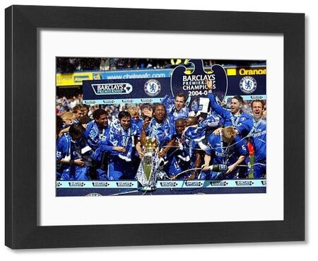 Chelsea players celebrate with the FA Barclays Premiership Trophy