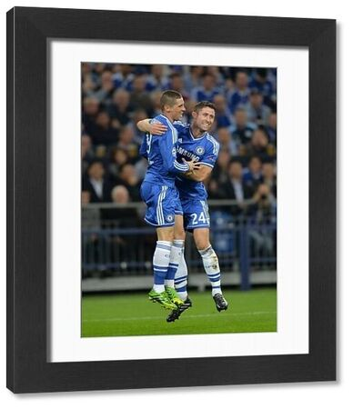 Chelsea's Fernando Torres (left) celebrates with his team-mate Gary Cahill (right) after scoring his team's opening goal