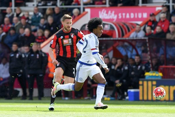 Chelsea's Willian (right) gets away from Bournemouth's Simon Francis