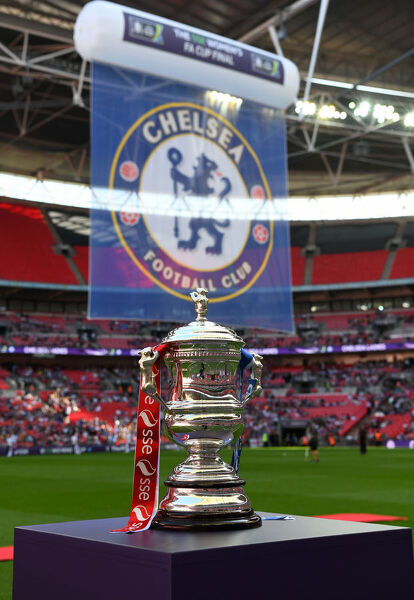 LONDON, ENGLAND - MAY 05: A general view of the trophy ahead of the SSE Women's FA Cup Final match between Arsenal Women and Chelsea Ladies at Wembley Stadium on May 5, 2018 in London, England. (Photo by Darren Walsh/Chelsea FC via Getty Images)