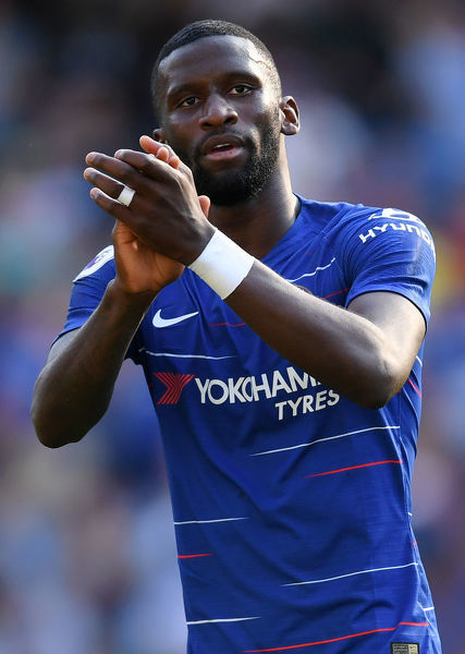 LONDON, ENGLAND - SEPTEMBER 01: Antonio Ruediger of Chelsea applauds fans after the Premier League match between Chelsea FC and AFC Bournemouth at Stamford Bridge on September 1, 2018 in London, United Kingdom