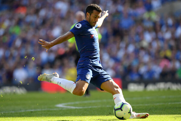 LONDON, ENGLAND - SEPTEMBER 01: Pedro of Chelsea passes the ball during the Premier League match between Chelsea FC and AFC Bournemouth at Stamford Bridge on September 1, 2018 in London, United Kingdom