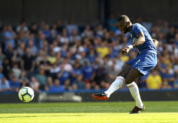 LONDON, ENGLAND - SEPTEMBER 01: Antonio Ruediger of Chelsea passes the ball during the Premier League match between Chelsea FC and AFC Bournemouth at Stamford Bridge on September 1, 2018 in London, United Kingdom