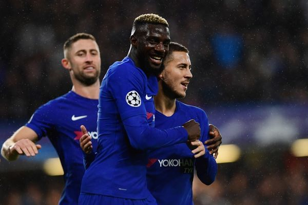 LONDON, ENGLAND - SEPTEMBER 12: Tiemoue Bakayoko of Chelsea celebrates scoring his sides fourth goal with Eden Hazard of Chelsea during the UEFA Champions League Group C match between Chelsea FC and Qarabag FK at Stamford Bridge on September 12