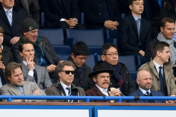 LONDON, ENGLAND - FEBRUARY 04: Actors Will Ferrell and John C. Reilly watch the Premier League match between Chelsea and Arsenal at Stamford Bridge on February 4, 2017 in London, England. (Photo by Darren Walsh/Chelsea FC via Getty Images)