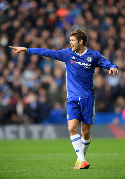 LONDON, ENGLAND - FEBRUARY 04: Marcos Alonso of Chelsea signals to team-mates during the Premier League match between Chelsea and Arsenal at Stamford Bridge on February 4, 2017 in London, England. (Photo by Darren Walsh/Chelsea FC via Getty Images)