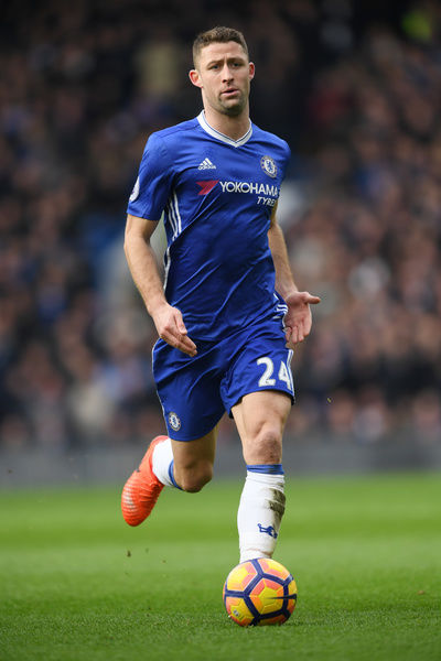 LONDON, ENGLAND - FEBRUARY 04: Gary Cahill of Chelsea in action during the Premier League match between Chelsea and Arsenal at Stamford Bridge on February 4, 2017 in London, England. (Photo by Darren Walsh/Chelsea FC via Getty Images)