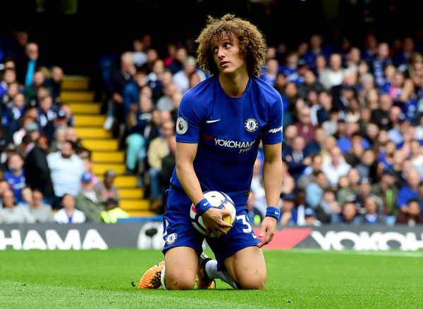 LONDON, ENGLAND - SEPTEMBER 17: David Luiz of Chelsea reacts during the Premier League match between Chelsea and Arsenal at Stamford Bridge on September 17, 2017 in London, England. (Photo by Darren Walsh/Chelsea FC via Getty Images)