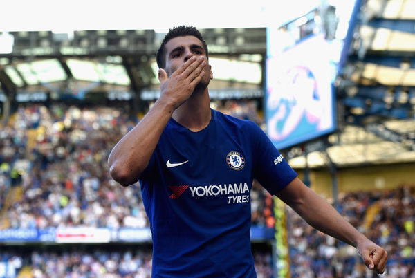 LONDON, ENGLAND - AUGUST 27: Alvaro Morata of Chelsea celebrates scoring his sides second goal during the Premier League match between Chelsea and Everton at Stamford Bridge on August 27, 2017 in London, England