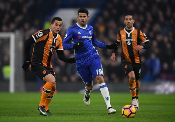 LONDON, ENGLAND - JANUARY 22: Diego Costa of Chelsea in action during the Premier League match between Chelsea and Hull City at Stamford Bridge on January 22, 2017 in London, England. (Photo by Darren Walsh/Chelsea FC via Getty Images)