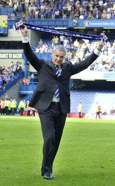 Chelsea manager Claudio Ranieri thanks Chelsea supporters after their Barclaycard Premiership match against Leeds United at Chelsea's Stamford Bridge, London Saturday May 15 2004. THIS PICTURE CAN ONLY BE USED WITHIN THE CONTEXT OF AN EDITORIAL FEATURE