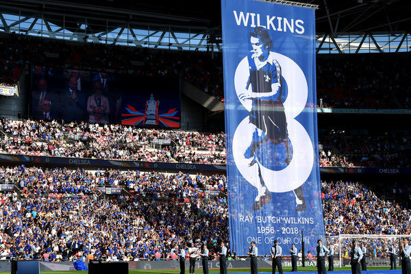 LONDON, ENGLAND - MAY 19: A tribute banner in remembrance of Ray Wilkins is seen prior to The Emirates FA Cup Final between Chelsea and Manchester United at Wembley Stadium on May 19, 2018 in London, England