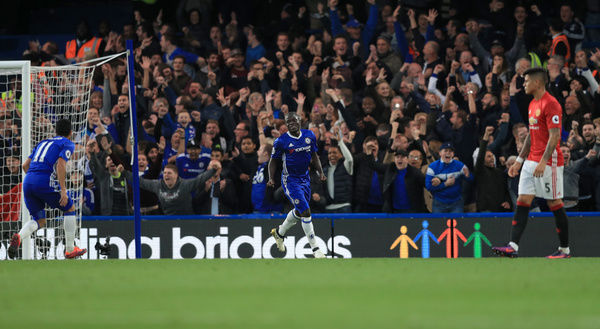 Chelsea's N'Golo Kante celebrates scoring his side's fourth goal of the game