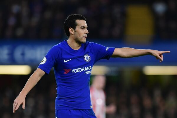 LONDON, ENGLAND - DECEMBER 30: Pedro of Chelsea reacts during the Premier League match between Chelsea and Stoke City at Stamford Bridge on December 30, 2017 in London, England. (Photo by Darren Walsh/Chelsea FC via Getty Images)