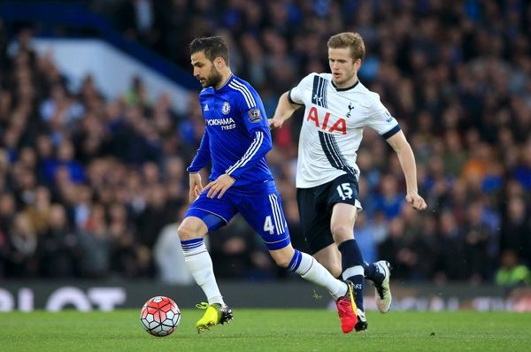 Chelsea's Cesc Fabregas (left) and Tottenham Hotspur's Eric Dier in action during the Barclays Premier League match at Stamford Bridge, London