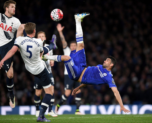 Chelsea's Diego Costa has a overhead kick attempt on goal