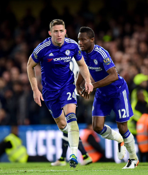 Chelsea's Gary Cahill (left) celebrates scoring his side's first goal of the game with teammate Jon Obi Mikel (right)