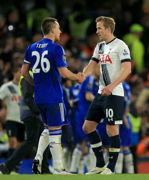 Chelsea's John Terry (left) shakes hands with Tottenham Hotspur's Harry Kane after the Barclays Premier League match at Stamford Bridge, London