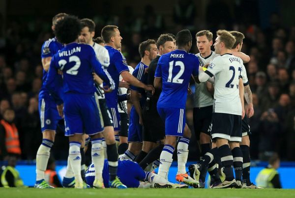 File photo dated of Tottenham Hotspur and Chelsea players arguing during the Barclays Premier League match at Stamford Bridge