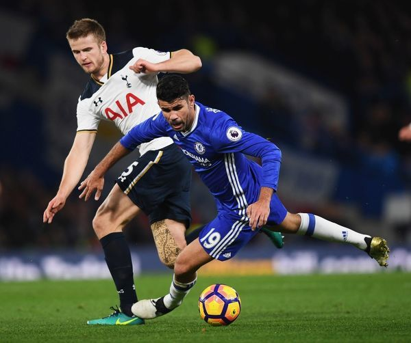 LONDON, ENGLAND - NOVEMBER 26: Diego Costa of Chelsea is challenged by Eric Dier of Tottenham Hotspur during the Premier League match between Chelsea and Tottenham Hotspur at Stamford Bridge on November 26, 2016 in London, England