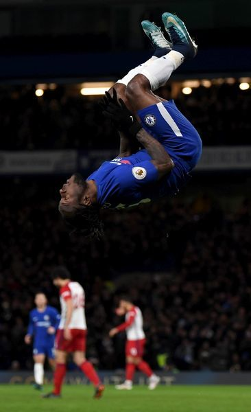 LONDON, ENGLAND - FEBRUARY 12: Victor Moses of Chelsea celebrates after scoring his sides second goal during the Premier League match between Chelsea and West Bromwich Albion at Stamford Bridge on February 12, 2018 in London, England
