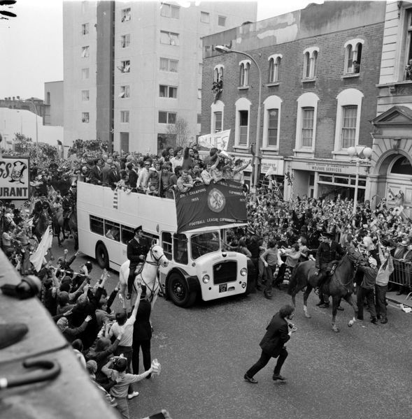 Chelsea celebrate winning the European Cup Winners Cup with fans from the top of an open top bus after victory over Real Madrid