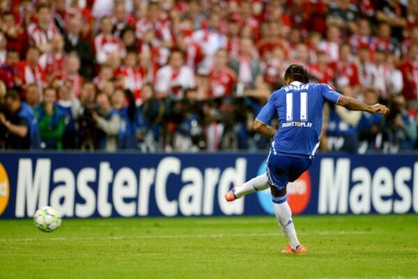 Chelsea's Didier Drogba takes his penalty during the shootout in the UEFA Champions League Final between FC Bayern Muenchen and Chelsea at the Fussball Arena Munchen on May 19, 2012 in Munich, Germany