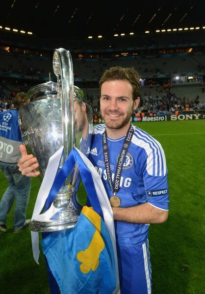 MUNICH, GERMANY - MAY 19: Juan Mata of Chelsea celebrate winning the UEFA Champions League Final between FC Bayern Muenchen and Chelsea at the Fussball Arena M?nchen on May 19, 2012 in Munich, Germany (Photo by Darren Walsh/Chelsea FC )