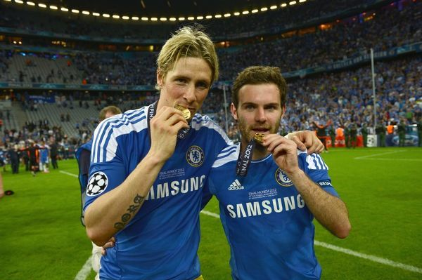 MUNICH, GERMANY - MAY 19: Fernando Torres, Juan Mata of Chelsea celebrate winning the UEFA Champions League Final between FC Bayern Muenchen and Chelsea at the Fussball Arena M?nchen on May 19, 2012 in Munich, Germany (Photo by Darren Walsh/Chelsea