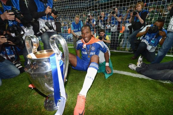 MUNICH, GERMANY - MAY 19: Didier Drogba of Chelsea celebrate winning the UEFA Champions League Final between FC Bayern Muenchen and Chelsea at the Fussball Arena M?nchen on May 19, 2012 in Munich, Germany (Photo by Darren Walsh/Chelsea FC )