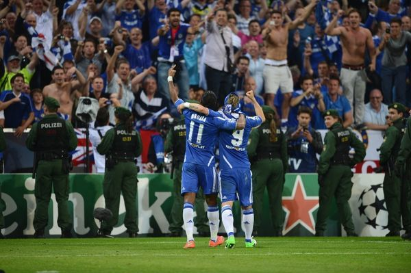 MUNICH, GERMANY - MAY 19: Didier Drogba, Fernando Torres of Chelsea during UEFA Champions League Final between FC Bayern Muenchen and Chelsea at the Fussball Arena M?nchen on May 19, 2012 in Munich, Germany (Photo by Darren Walsh/Chelsea FC )