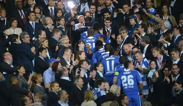 MUNICH, GERMANY - MAY 19: MUNICH, GERMANY - Chelsea celebrate winning the UEFA Champions League Final between FC Bayern Muenchen and Chelsea at the Fussball Arena M?nchen on May 19, 2012 in Munich, Germany (Photo by Darren Walsh/Chelsea FC )