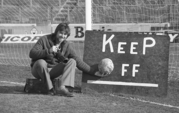STAMFORD BRIDGE, LONDON, MARCH 15TH 1980 : Chelsea FC Official Photographer Hugh Hastings in a photoshoot that recalls his accidently going on the pitch at that season's Burnley v Chelsea League match. (Photo by Hugh Hastings/Chelsea FC )