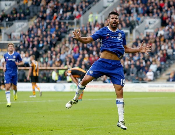 Chelsea's Diego Costa celebrates scoring his side's second goal of the gameduring the Premier League match at the KCOM Stadium, Hull