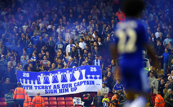 Chelsea fans hold a banner supporting John Terry in the stands