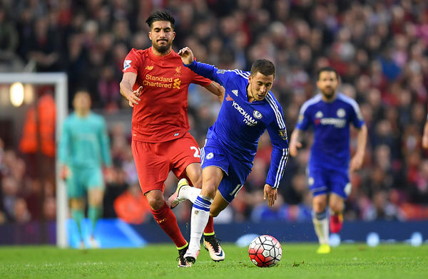 Liverpool's Emre Can and Chelsea's Eden Hazard battle for the ball