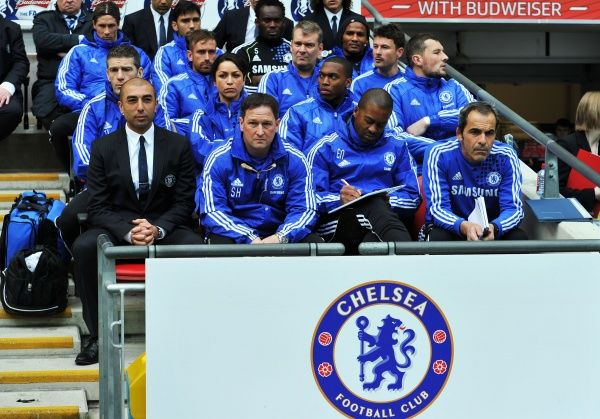 LONDON, ENGLAND - MAY 05: Roberto Di Matteo caretaker manager of Chelsea with his backroom staff look on during the FA Cup Final with Budweiser between Liverpool and Chelsea at Wembley Stadium on May 5, 2012 in London, England