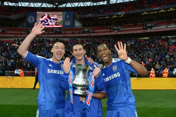 LONDON, ENGLAND - MAY 05: John Terry, Frank Lampard, Didier Drogba of Chelsea during the FA Cup Final with Budweiser between Liverpool and Chelsea at Wembley Stadium on May 5, 2012 in London, England. (Photo by Darren Walsh/Chelsea FC )