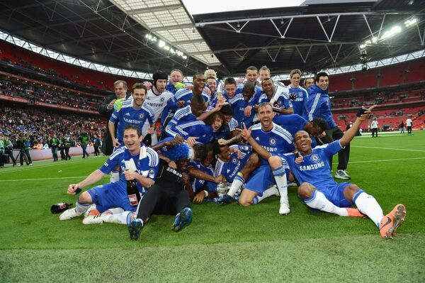 LONDON, ENGLAND - MAY 05: Chelsea team celebrate during the FA Cup Final with Budweiser between Liverpool and Chelsea at Wembley Stadium on May 5, 2012 in London, England. (Photo by Darren Walsh/Chelsea FC )