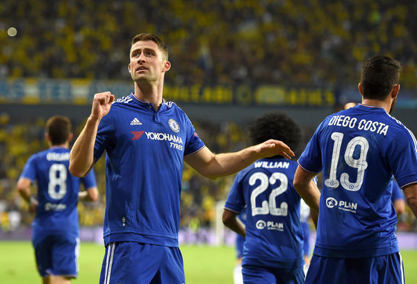 Chelsea's Gary Cahill celebrates scoring his sides first goal of the match