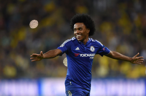 Chelsea's Willian celebrates scoring his sides second goal of the match