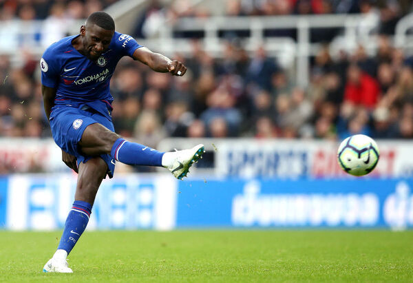 NEWCASTLE UPON TYNE, ENGLAND - AUGUST 26: Antonio Ruediger of Chelsea shoots during the Premier League match between Newcastle United and Chelsea FC at St