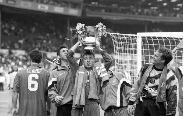 Chelsea's Kevin Hitchcock, Dan Petrescu and Frode Grodas after Chelsea win the FA Cup (Photo by Francis Glibbery/Chelsea FC/Press Association Image)