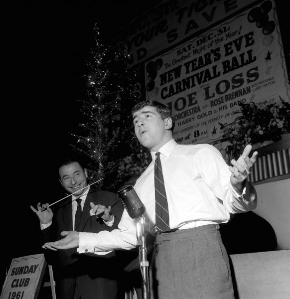 Bandleader Joe Loss (l) looks on in amusement as Chelsea's Terry Venables rehearses at Hammersmith Palais for his singing debut