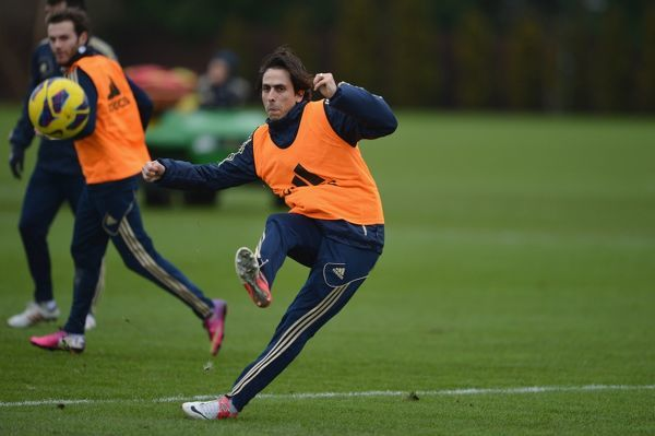 Chelsea's Yossi Benayoun during a training session at the Cobham Training Ground on 29th January 2013 in Cobham, England