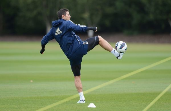 Chelsea's Frank Lampard during a training session at the Cobham Training Ground on 21st September 2012 in Cobham, England