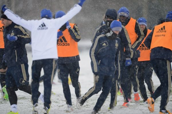 Chelsea's Demba Ba during a training session at the Cobham Training Ground on 18th January 2013 in Cobham, England